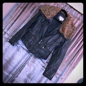 XL MOTO Jacket Dark Teal & Faux Brown Fur Collar